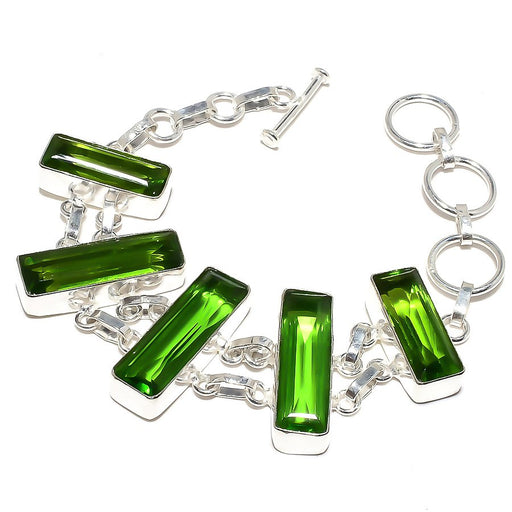Peridot Gemstone Handmade Ethnic Jewelry Bracelet 7-8 Inches RB865