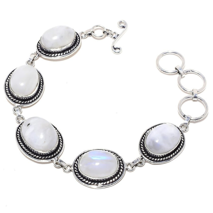 Rainbow Moonstone Gemstone Ethnic Jewelry Bracelet 7-8 Inches RB88