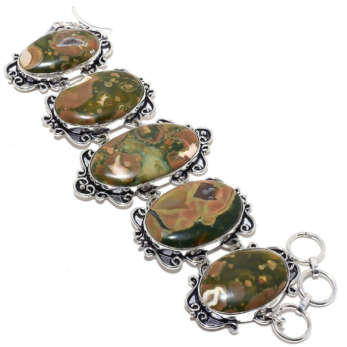 Rainforest Jasper Gemstone Ethnic Jewelry Bracelet 7-8 Inches RB8