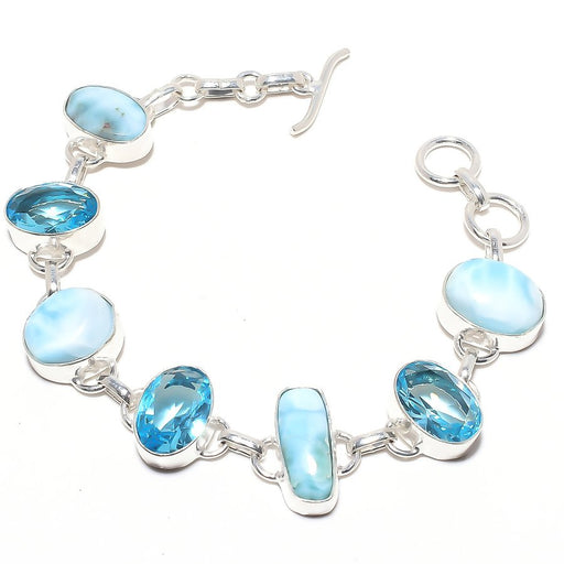 Caribbean Larimar, Blue Topaz Jewelry Bracelet 7-8 Inches RB91