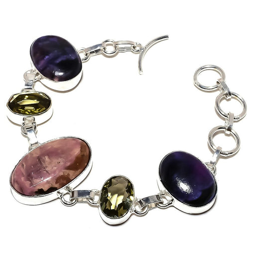 Rhodonite, Amethyst Gemstone Jewelry Bracelet 7-8 Inches RB952