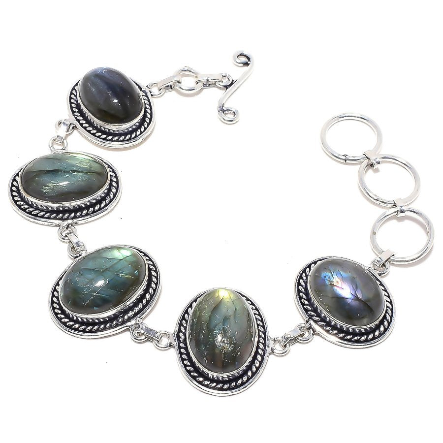 Labradorite Gemstone Handmade Jewelry Bracelet 7-8 Inches RB96