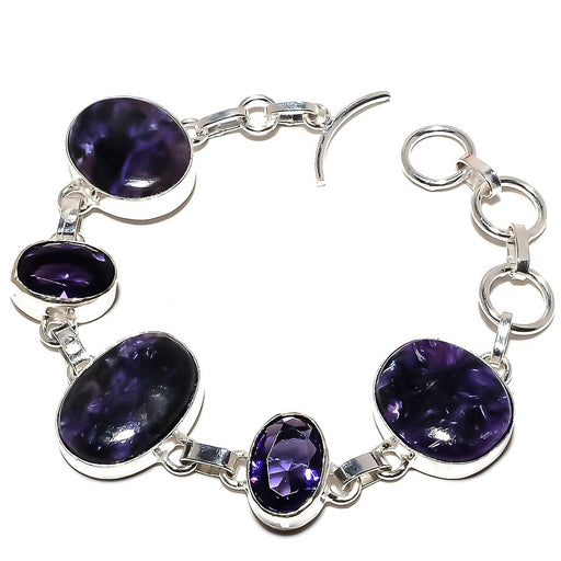 Charoite, Amethyst Gemstone Jewelry Bracelet 7-8 Inches RB971