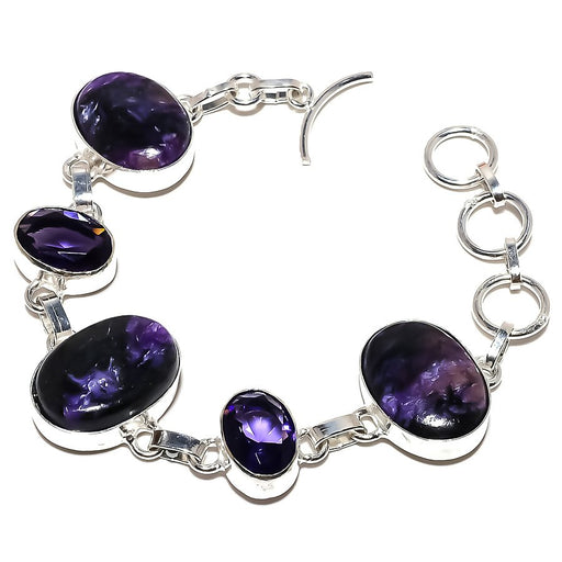Charoite, Amethyst Gemstone Jewelry Bracelet 7-8 Inches RB975