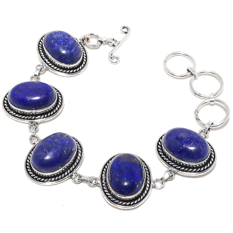 Lapis Lazuli Gemstone Handmade Jewelry Bracelet 7-8 Inches RB97