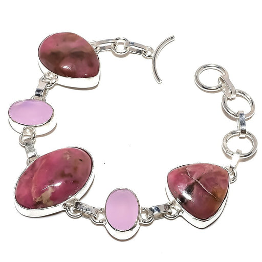 Rhodonite, Pink Jade Gemstone Jewelry Bracelet 7-8 Inches RB981