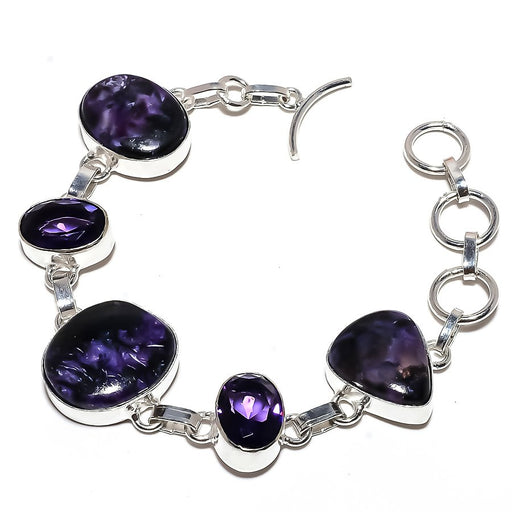 Charoite, Amethyst Gemstone Jewelry Bracelet 7-8 Inches RB983