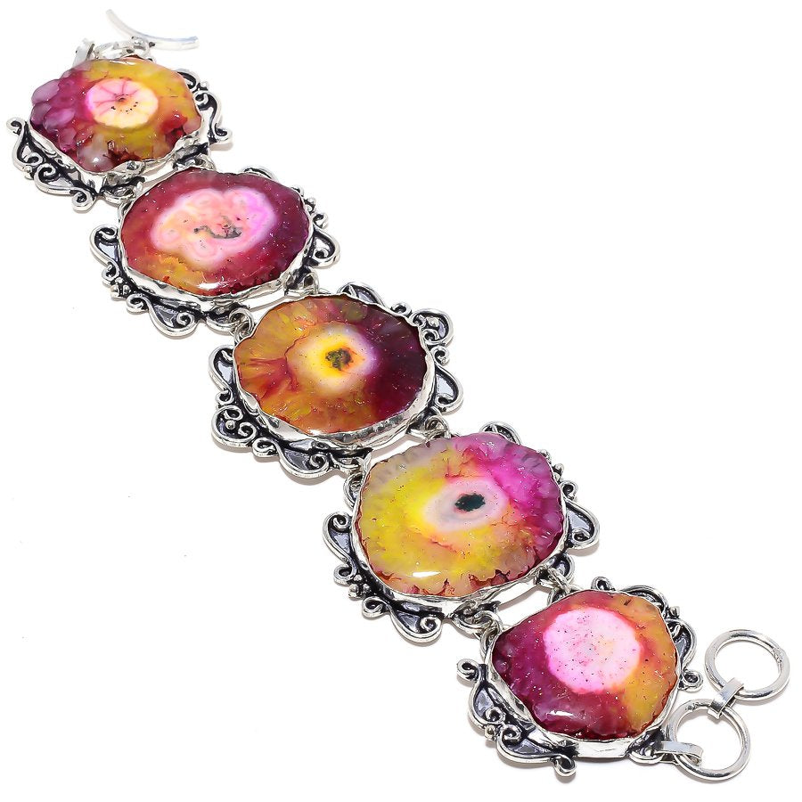 Bi-Color Solar Quartz Druzy Ethnic Jewelry Bracelet 7-8 Inches RB9