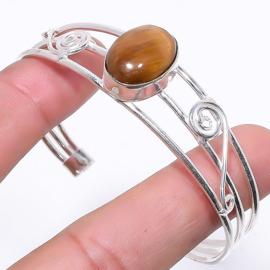 Tiger'S Eye Gemstone Jewelry Cuff Bracelet Adjustable RC103