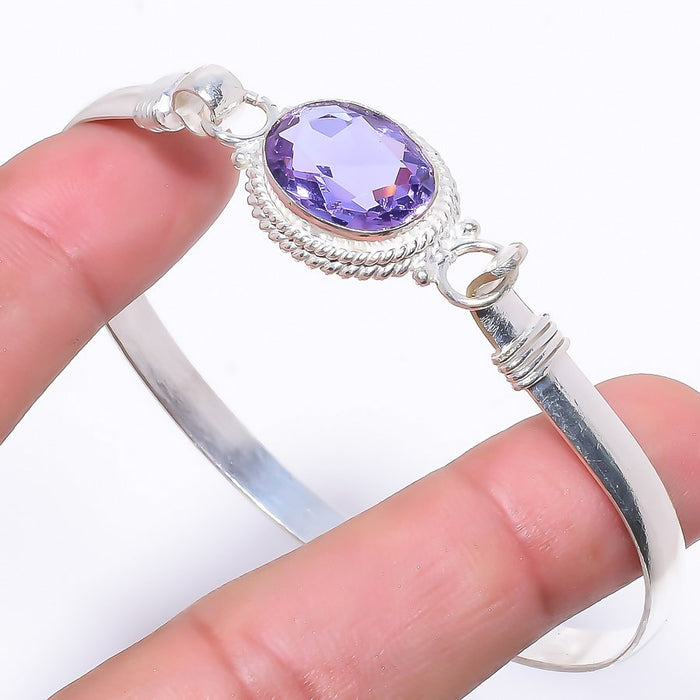 Amethyst Gemstone Jewelry Cuff Bracelet Adjustable RC13