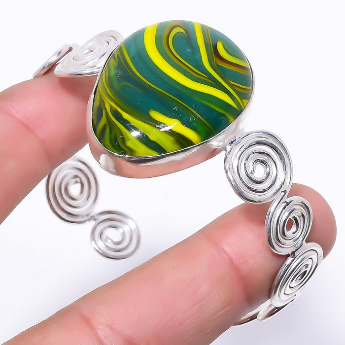 Green Calsilica Jewelry Cuff Bracelet Adjustable RC142