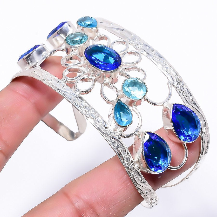 Blue Topaz Gemstone Jewelry Cuff Bracelet Adjustable RC150