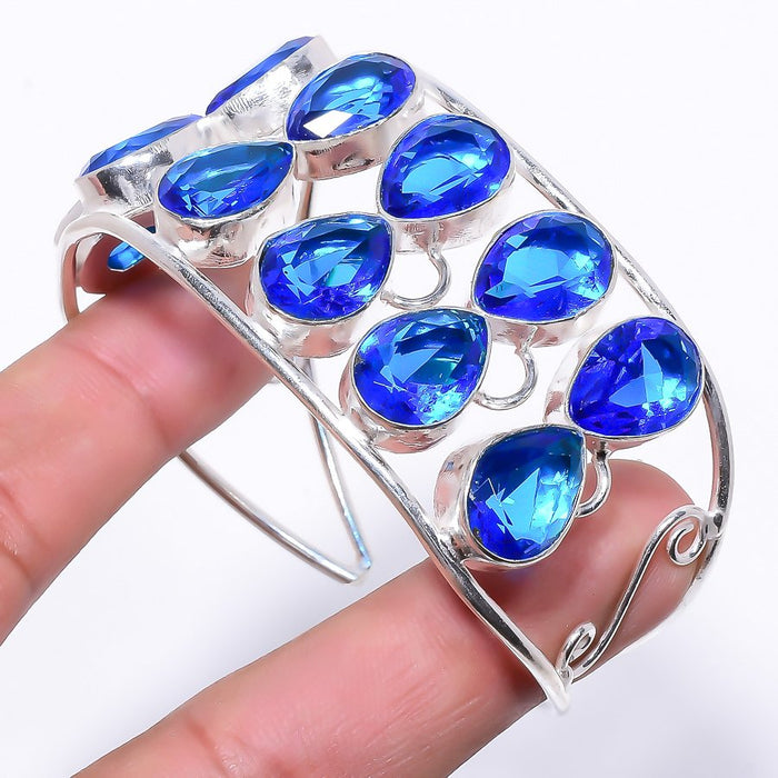 Blue Topaz Gemstone Jewelry Cuff Bracelet Adjustable RC158