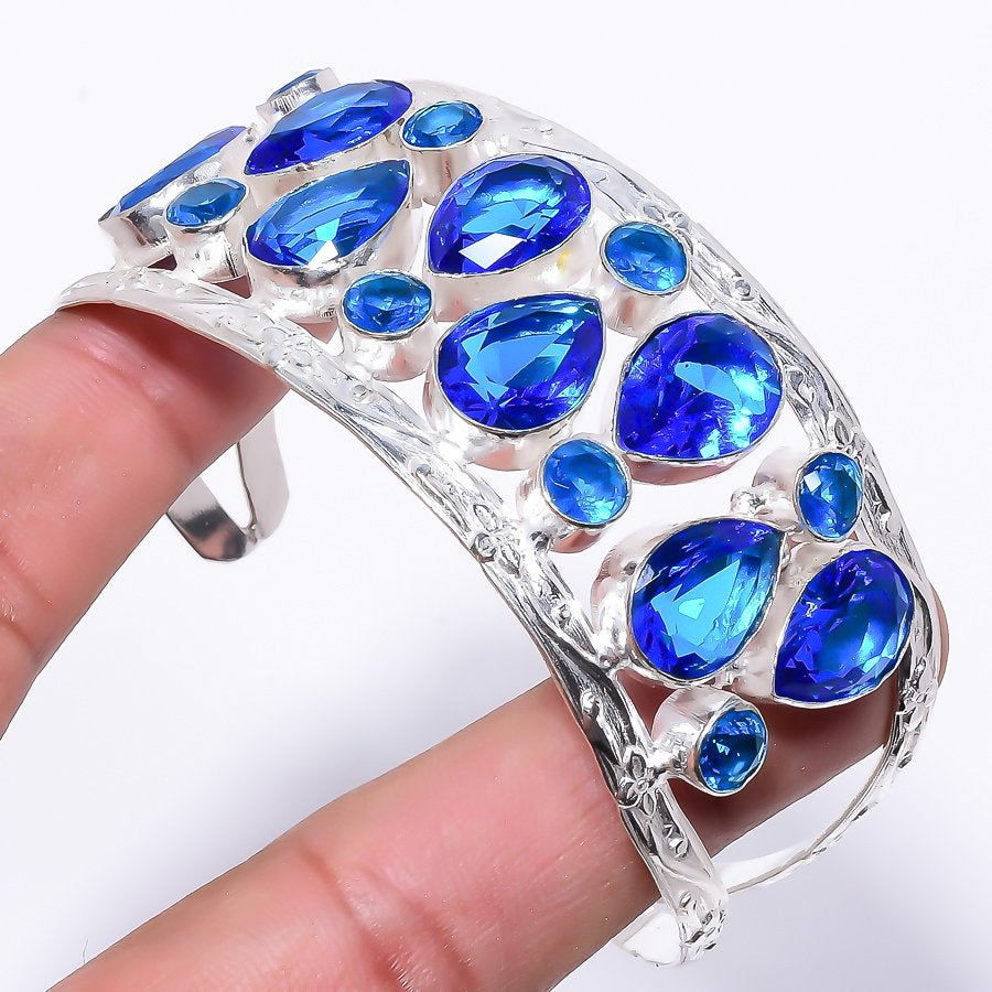 Blue Topaz Gemstone Jewelry Cuff Bracelet Adjustable RC159