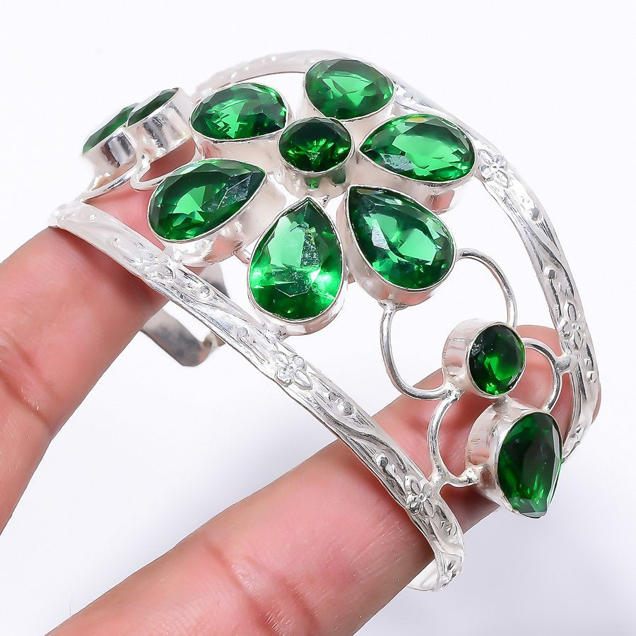 Tsavorite Quartz Jewelry Cuff Bracelet Adjustable RC184