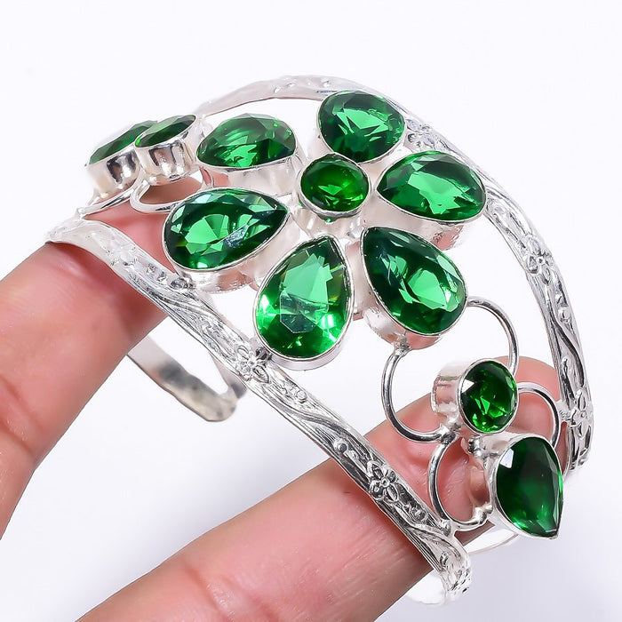 Tsavorite Quartz Jewelry Cuff Bracelet Adjustable RC189