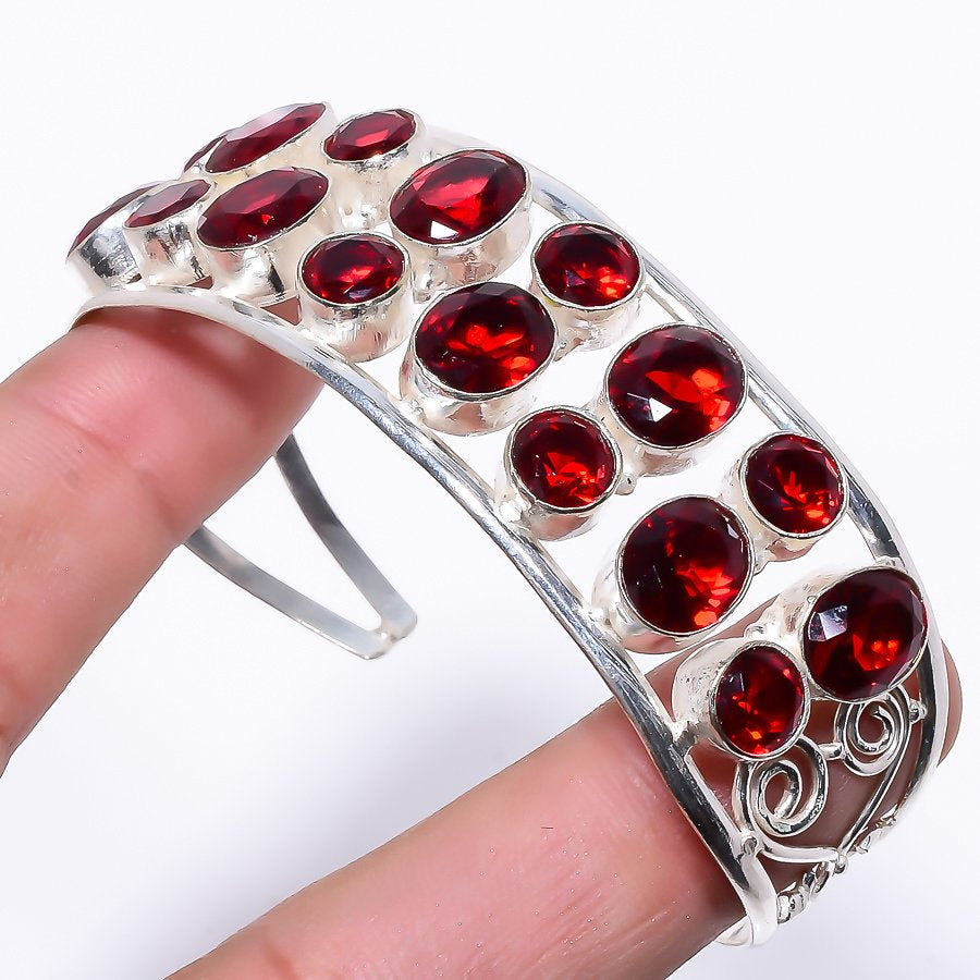 Garnet Gemstone Jewelry Cuff Bracelet Adjustable RC190