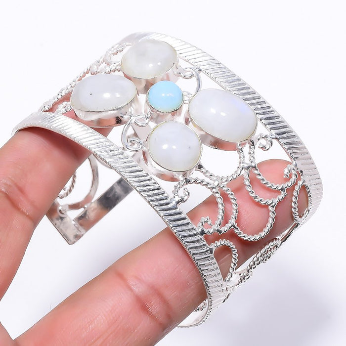 Milky Opal Jewelry Cuff Bracelet Adjustable RC192