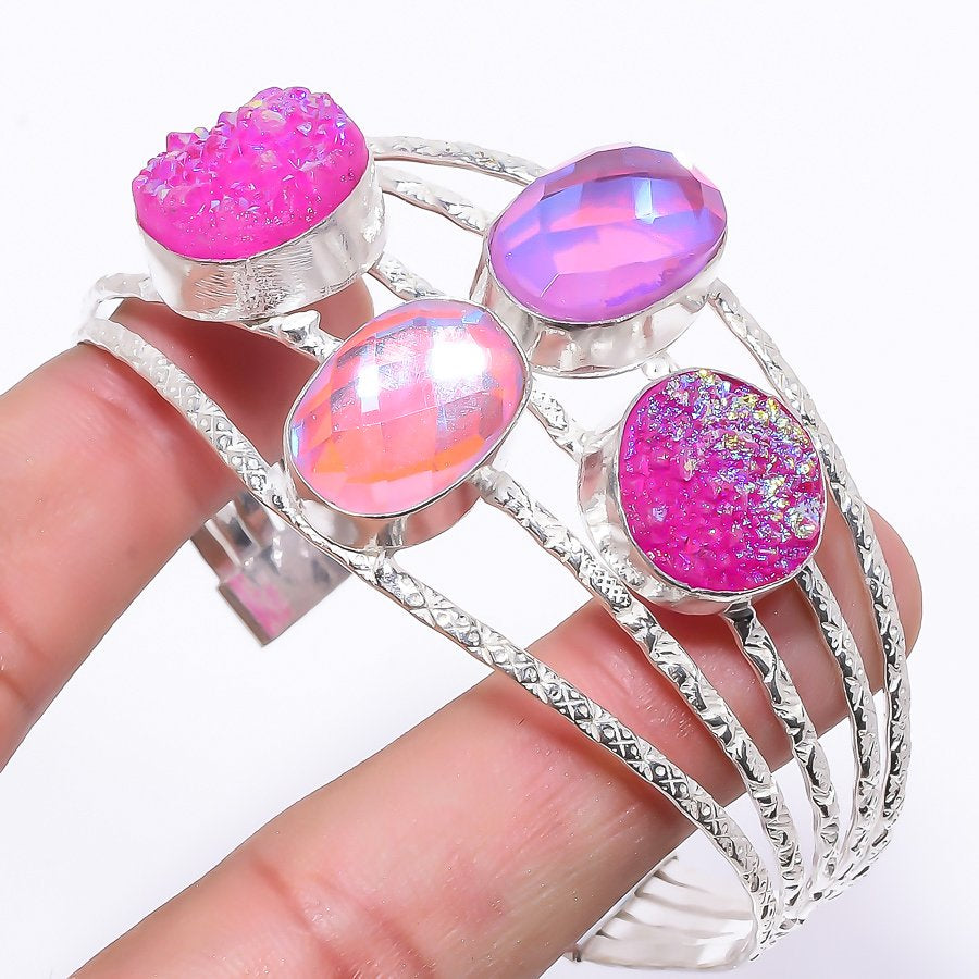Pink Mystic Topaz Jewelry Cuff Bracelet Adjustable RC198