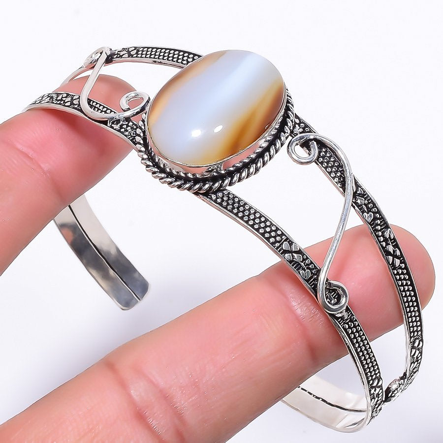 Botswana Lace Agate Jewelry Cuff Bracelet Adjustable RC1
