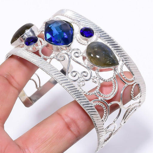 Blue Sapphire Jewelry Cuff Bracelet Adjustable RC200