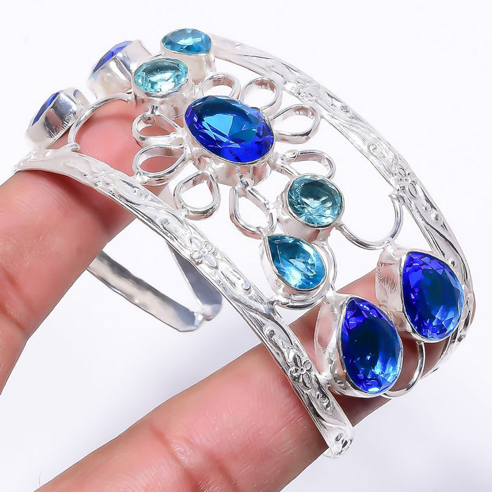 Swiss Blue Topaz Jewelry Cuff Bracelet Adjustable RC209