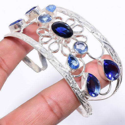 Blue Sapphire Jewelry Cuff Bracelet Adjustable RC217