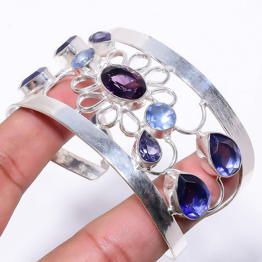 Amethyst, Iolite Jewelry Cuff Bracelet Adjustable RC221
