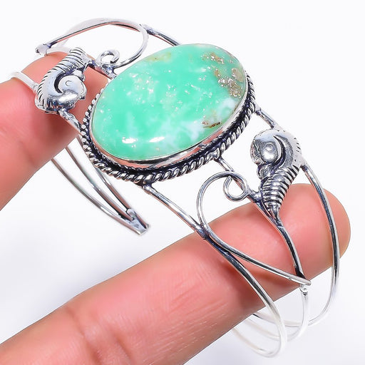 Chrysoprase Gemstone Jewelry Cuff Bracelet Adjustable RC234