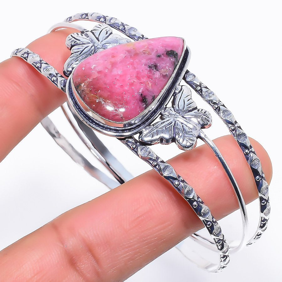 Rhodonite Gemstone Jewelry Cuff Bracelet Adjustable RC253