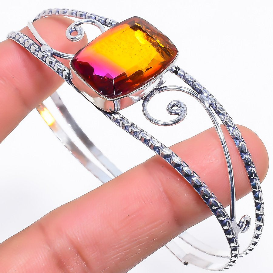 Bi-Color Tourmaline Jewelry Cuff Bracelet Adjustable RC256