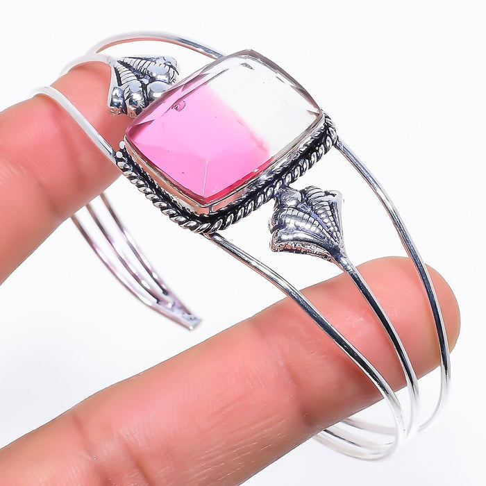 Bi-Color Tourmaline Jewelry Cuff Bracelet Adjustable RC261
