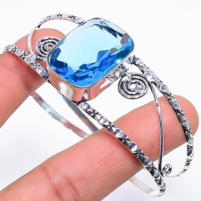 Blue Topaz Gemstone Jewelry Cuff Bracelet Adjustable RC263