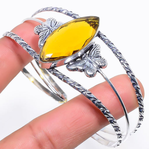 Citrine Gemstone Jewelry Cuff Bracelet Adjustable RC267