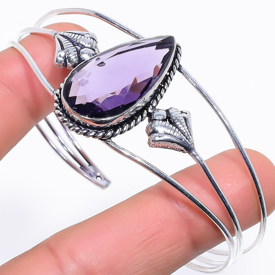 Amethyst Gemstone Jewelry Cuff Bracelet Adjustable RC273