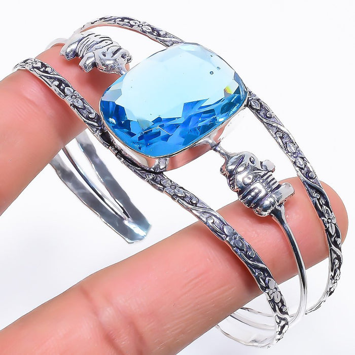 Blue Topaz Gemstone Jewelry Cuff Bracelet Adjustable RC281