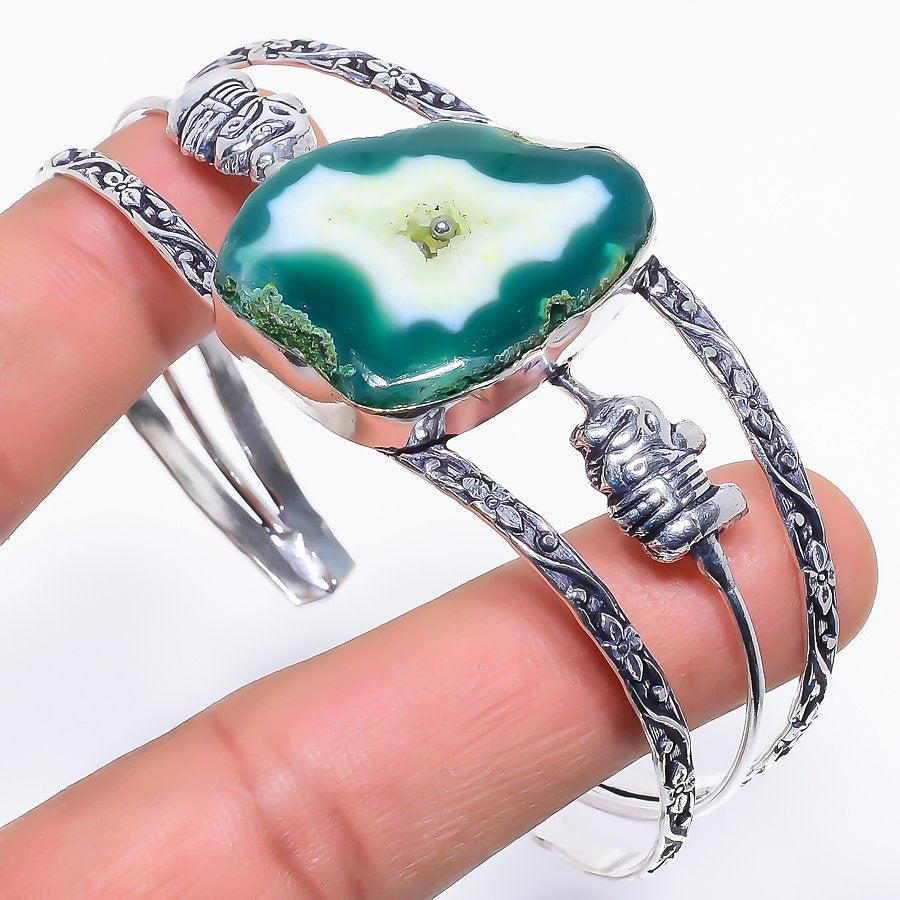 Green Agate Druzy Jewelry Cuff Bracelet Adjustable RC284