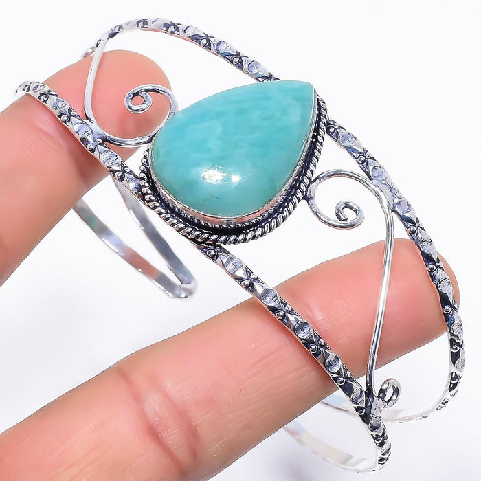 Amazonite Gemstone Jewelry Cuff Bracelet Adjustable RC286
