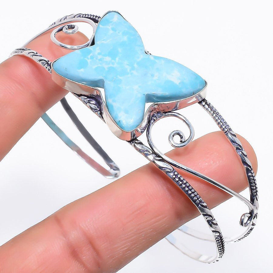 Butter Fly - Larimar Jewelry Cuff Bracelet Adjustable RC296