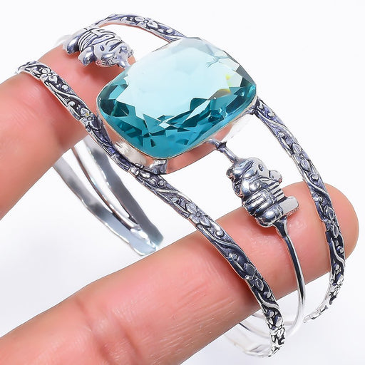 Aqua Apatite Gemstone Jewelry Cuff Bracelet Adjustable RC297