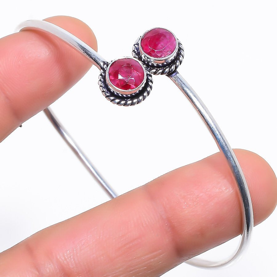 Faceted Ruby Gemstone Jewelry Cuff Bracelet Adjustable RC352