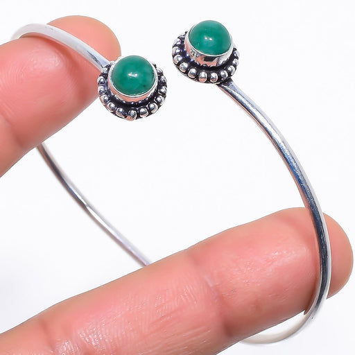 Emerald Gemstone Jewelry Cuff Bracelet Adjustable RC372