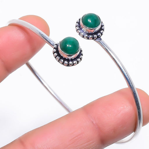 Emerald Gemstone Jewelry Cuff Bracelet Adjustable RC398