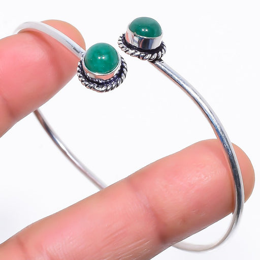 Emerald Gemstone Jewelry Cuff Bracelet Adjustable RC404