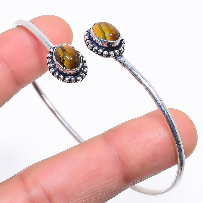 Tiger'S Eye Gemstone Jewelry Cuff Bracelet Adjustable RC416