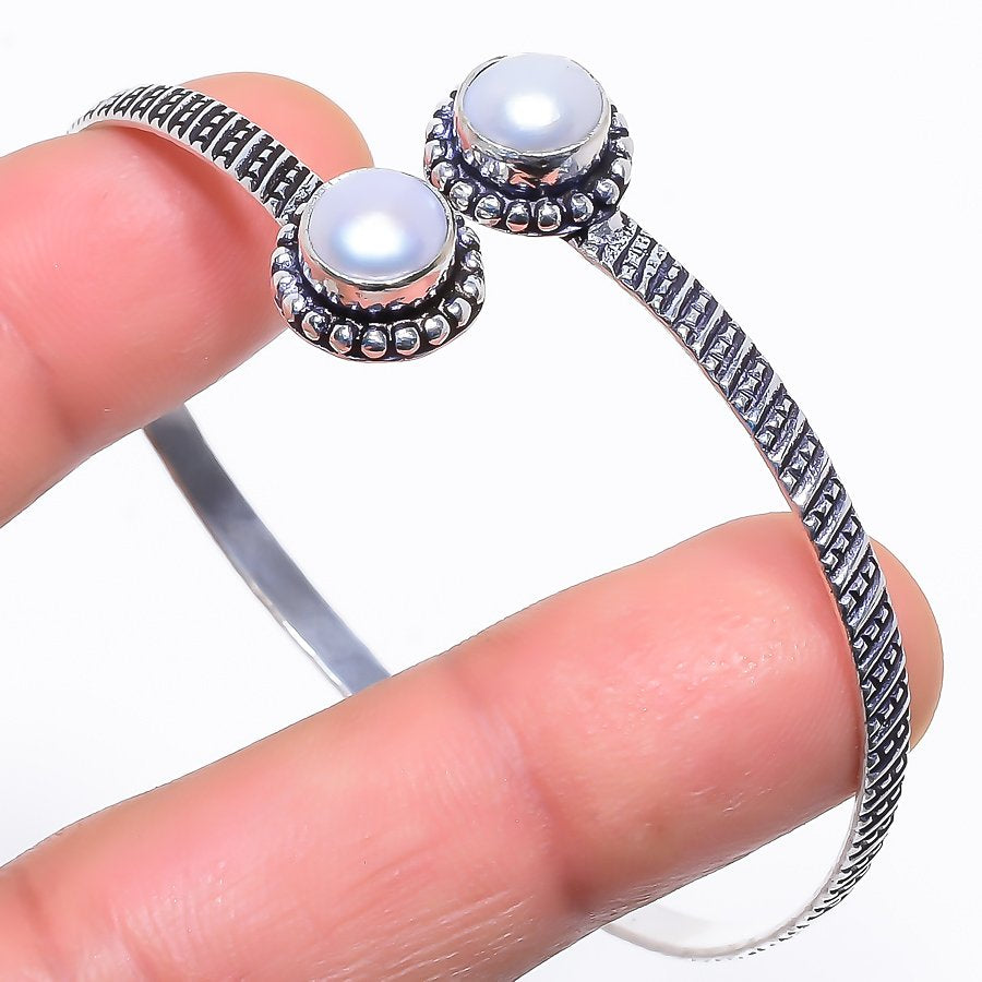 River Pearl Gemstone Jewelry Cuff Bracelet Adjustable RC418