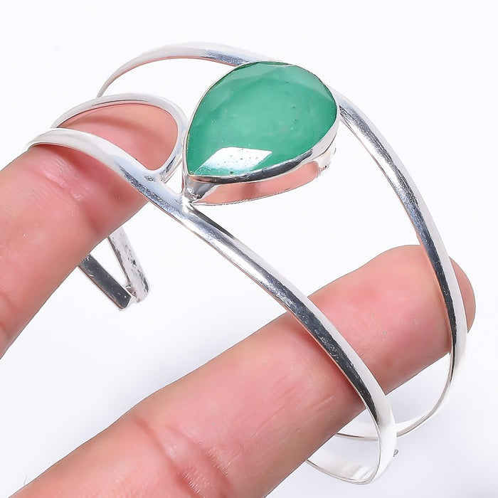 Emerald Gemstone Jewelry Cuff Bracelet Adjustable RC42