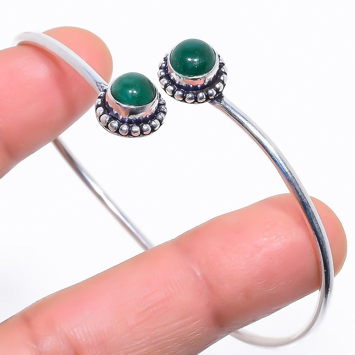 Emerald Gemstone Jewelry Cuff Bracelet Adjustable RC435