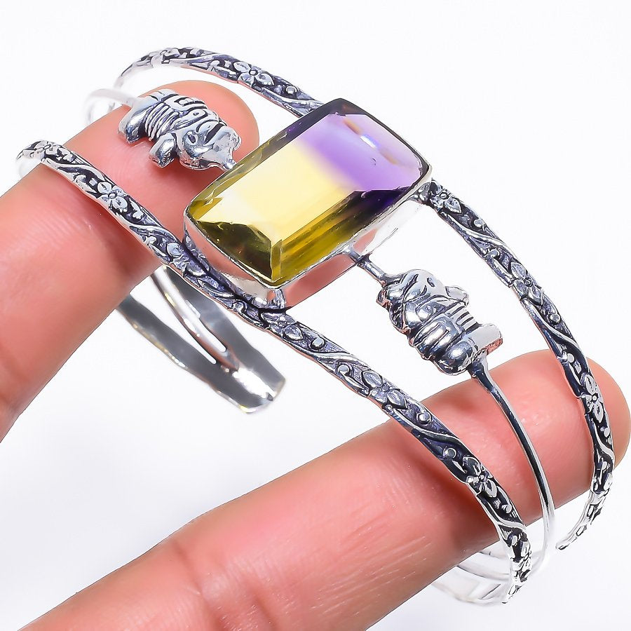 Ametrine Gemstone Jewelry Cuff Bracelet Adjustable RC464