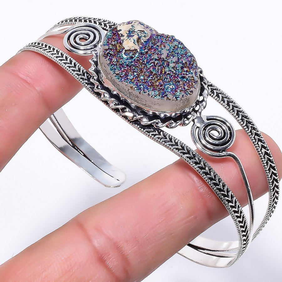 Titanium Druzy Ethnic Jewelry Cuff Bracelet Adjustable RC47